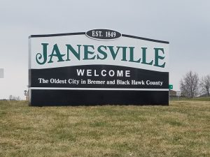 Monument welcome to Janesville sign