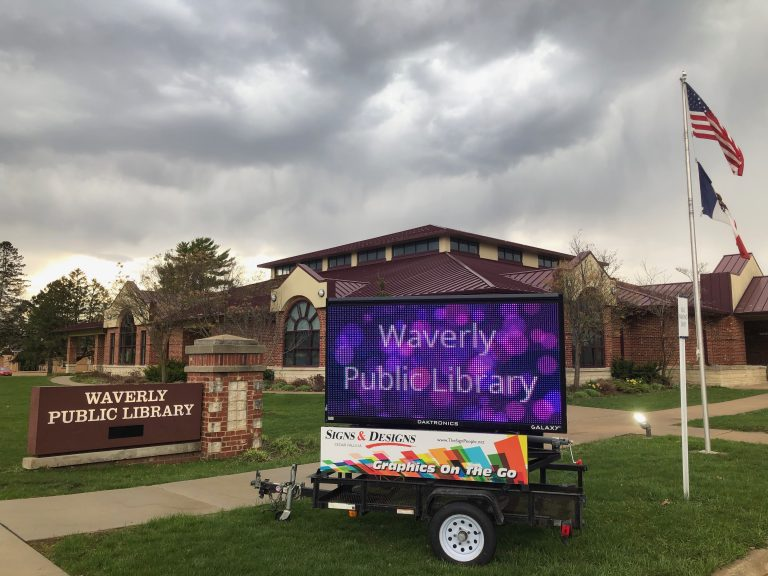 Mobile digital sign at library